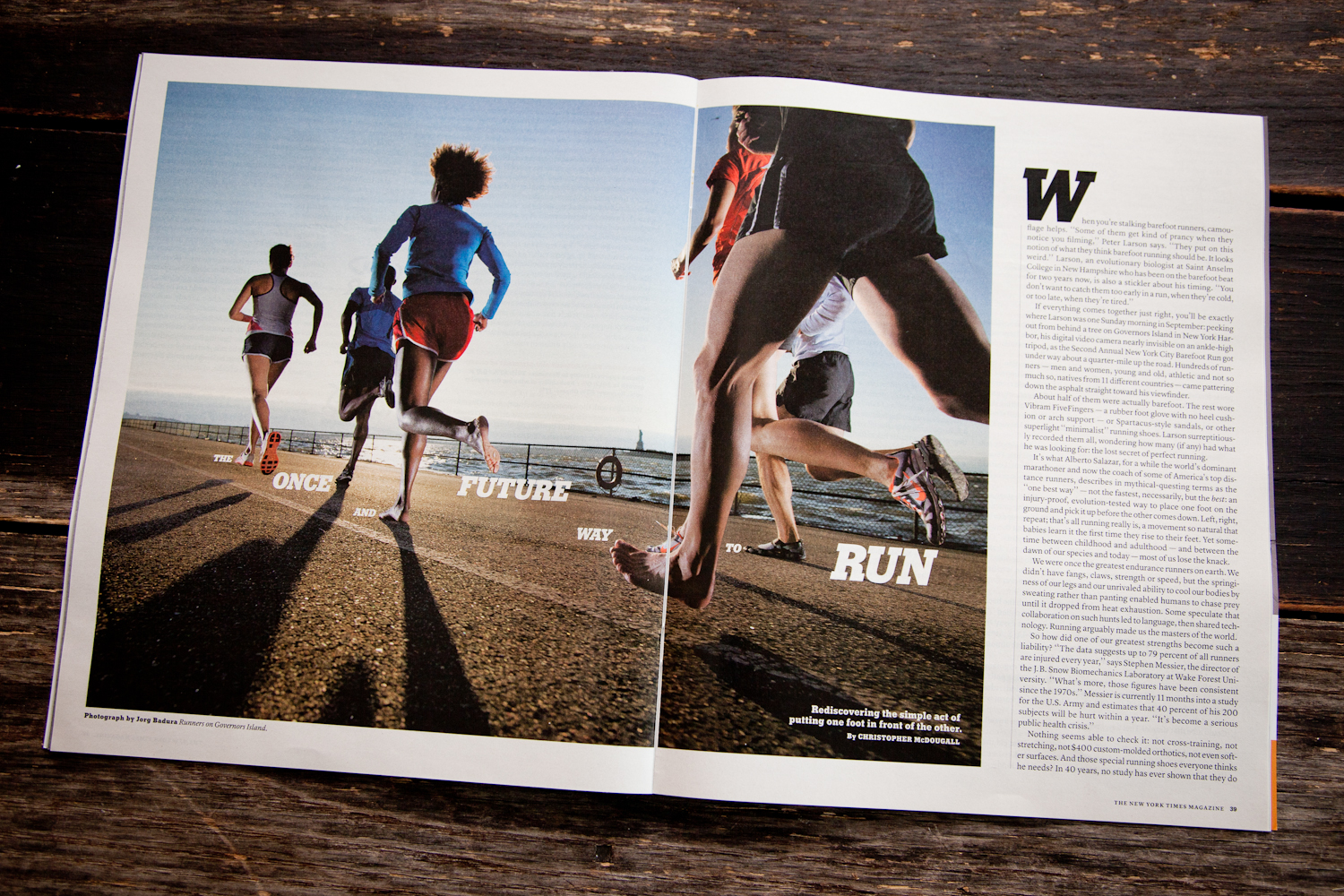 Barefoot runners on Governors Island for New York Times Magazine