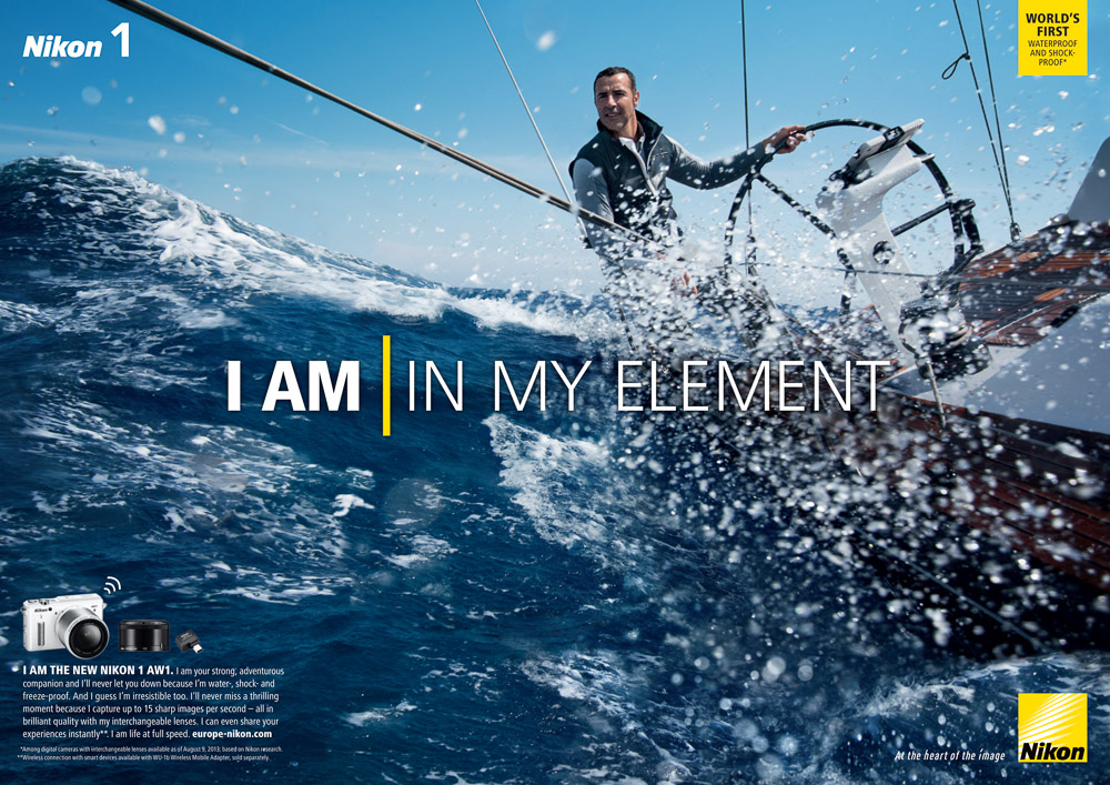 Nikon 1 AW1 International Ad Campaign, I Am In My Element Ad.  Underwater camera, waterproof, shock-proof, freeze-proof, dust-proof. 1 Series 14.2 megapixel,